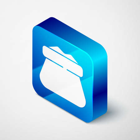 Isometric Full sack icon isolated on grey background. Blue square button. Vector