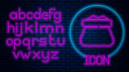 Glowing neon Full sack icon isolated on brick wall background. Neon light alphabet. Vector
