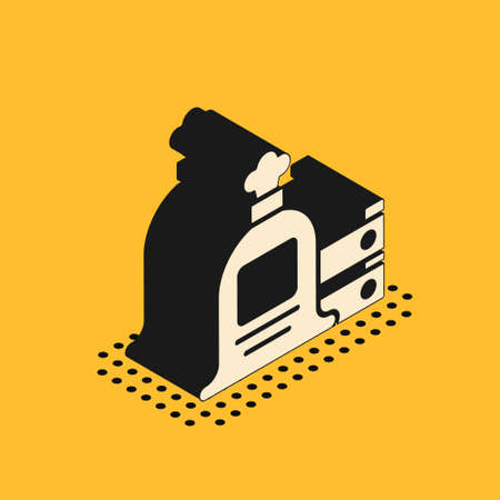 Isometric Full sack and wooden box icon isolated on yellow background. Vector