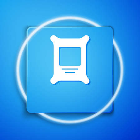 White Fertilizer bag icon isolated on blue background. Blue square button. Vector