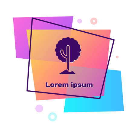 Purple Tree icon isolated on white background. Forest symbol. Color rectangle button. Vector