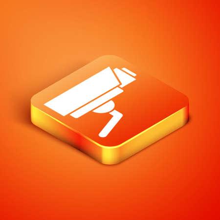 Isometric Security camera icon isolated on orange background. Vector Ilustração