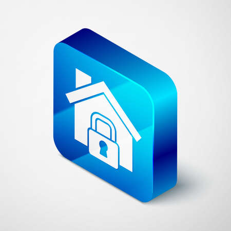 Isometric House under protection icon isolated on grey background. Home and lock. Protection, safety, security, protect, defense concept. Blue square button. Vector Illustration