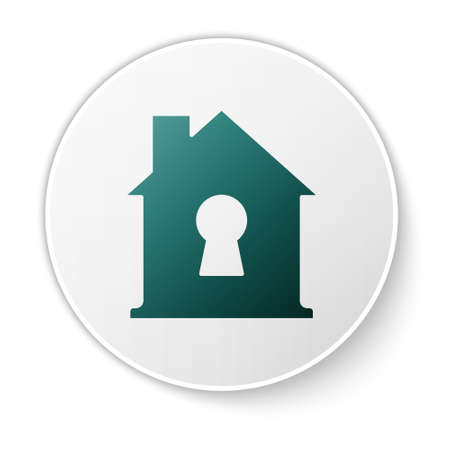 Green House under protection icon isolated on white background. Home and shield. Protection, safety, security, protect, defense concept. White circle button. Vector Illustration