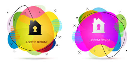 Color House under protection icon isolated on white background. Home and shield. Protection, safety, security, protect, defense concept. Abstract banner with liquid shapes. Vector