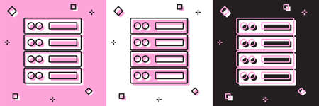 Set Server, Data, Web Hosting icon isolated on pink and white, black background. Vector