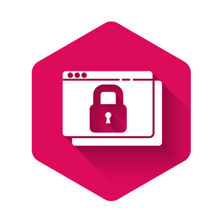 White Secure your site with HTTPS, SSL icon isolated with long shadow. Internet communication protocol. Pink hexagon button. Vector Ilustração