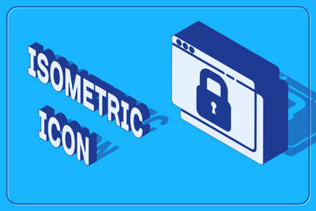 Isometric Secure your site with HTTPS, SSL icon isolated on blue background. Internet communication protocol. Vector