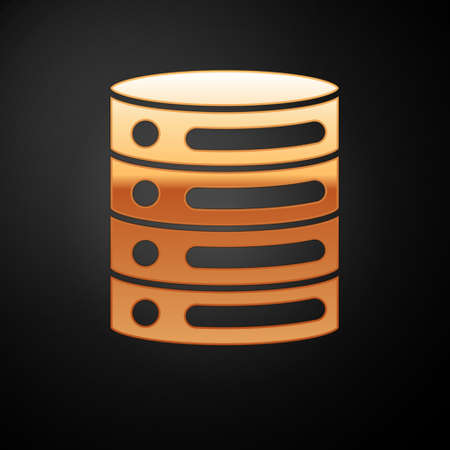 Gold Server, Data, Web Hosting icon isolated on black background. Vector