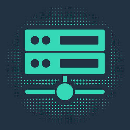 Green Server, Data, Web Hosting icon isolated on blue background. Abstract circle random dots. Vector