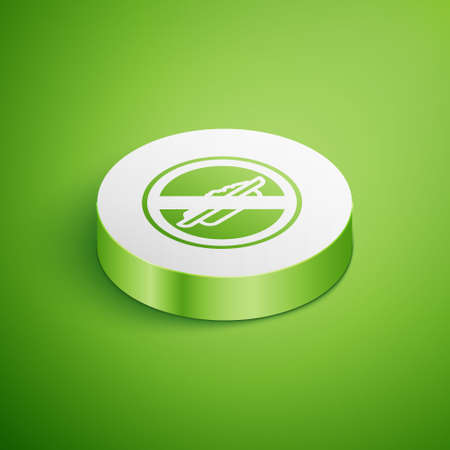 Isometric Food no diet icon isolated on green background. Healing hunger. White circle button. Vector Ilustração