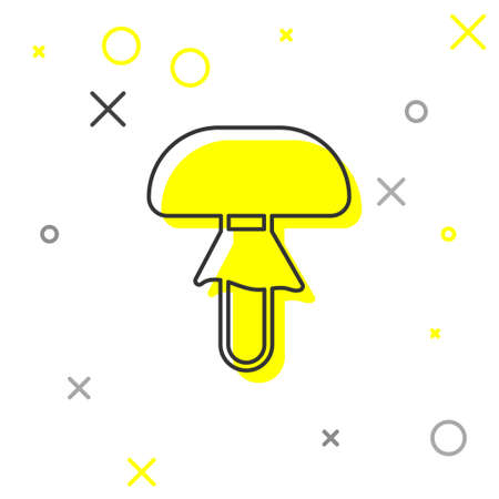 Grey line Mushroom icon isolated on white background. Vector