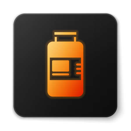 Orange glowing neon Collagen serum and vitamin icon isolated on white background. Facial treatment essence skin care cosmetic. Black square button. Vector 向量圖像