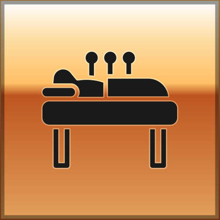 Black Acupuncture therapy icon isolated on gold background. Chinese medicine. Holistic pain management treatments. Vector