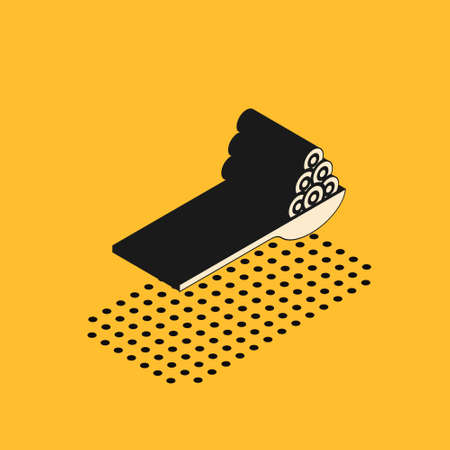 Isometric Caviar on a spoon icon isolated on yellow background. Vector. Illusztráció