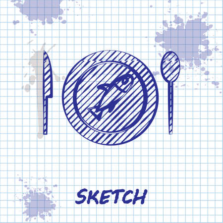 Sketch line Served fish on a plate icon isolated on white background. Vector.