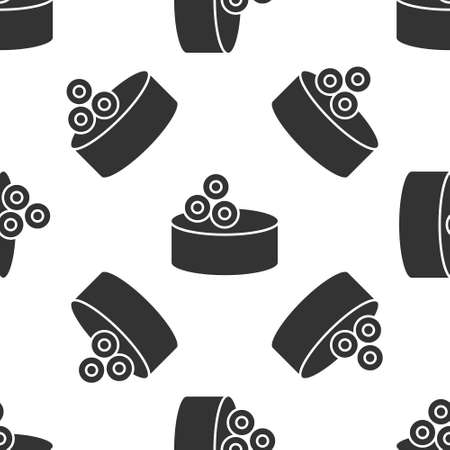 Grey Tin can with caviar icon isolated seamless pattern on white background. Vector.