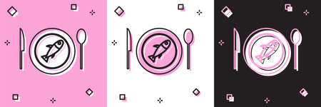 Set Served fish on a plate icon isolated on pink and white, black background. Vector.