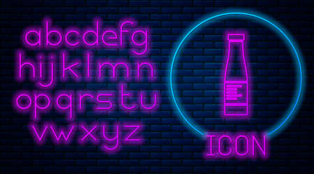 Glowing neon Sauce bottle icon isolated on brick wall background. Ketchup, mustard and mayonnaise bottles with sauce for fast food. Neon light alphabet. Vector. 矢量图像