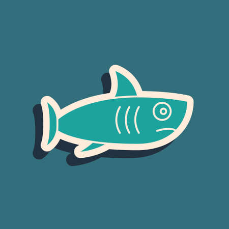 Green Shark icon isolated on green background. Long shadow style. Vector.