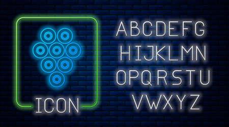Glowing neon Caviar icon isolated on brick wall background. Neon light alphabet. Vector. Illusztráció