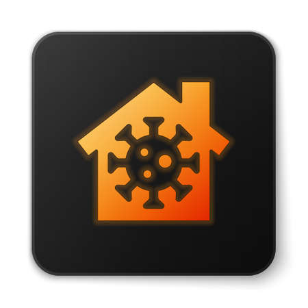 Orange glowing neon Stay home icon isolated on white background. Corona virus 2019-nCoV. Black square button. Vector.