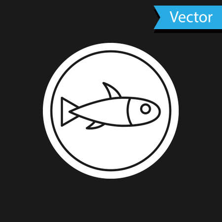White Served fish on a plate icon isolated on black background. Vector. Illusztráció
