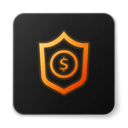 Orange glowing neon Shield with dollar symbol icon isolated on white background. Security shield protection. Money security concept. Black square button. Vector.