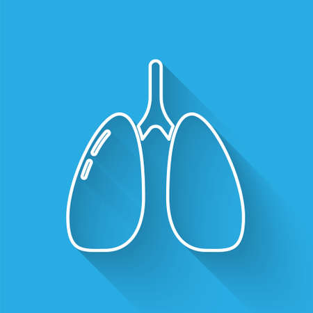 White line Lungs icon isolated with long shadow. Vector. 向量圖像