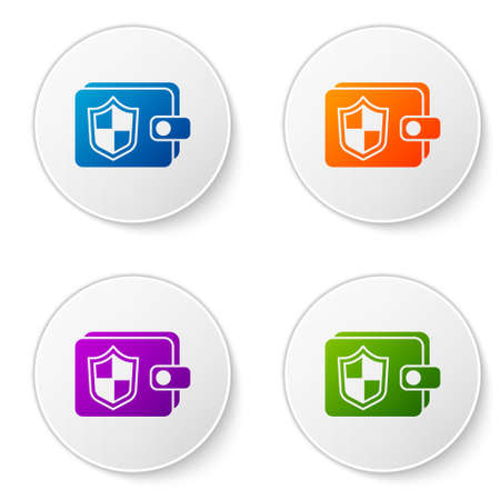 Color Wallet and money with shield icon isolated on white background. Insurance concept. Security, safety, protection, protect concept. Set icons in circle buttons. Vector.