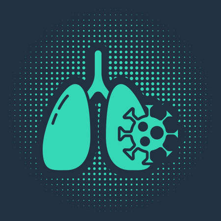 Green Virus cells in lung icon isolated on blue background. Infected lungs. Coronavirus, COVID-19. 2019-nCoV. Abstract circle random dots. Vector. 向量圖像
