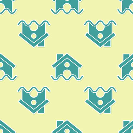 Green House flood icon isolated seamless pattern on yellow background. Home flooding under water. Insurance concept. Security, safety, protection, protect concept..