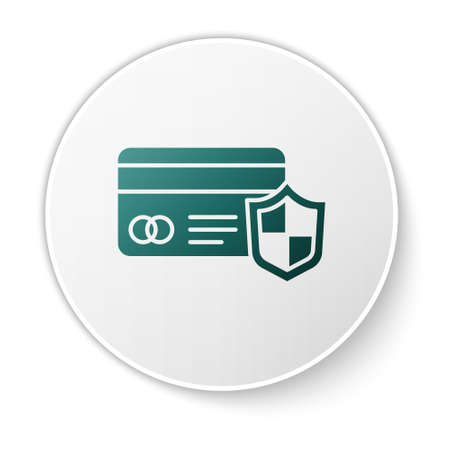 Green Credit card with shield icon isolated on white background. Online payment. Cash withdrawal. Financial operations. Shopping sign. White circle button. Vector. Ilustração