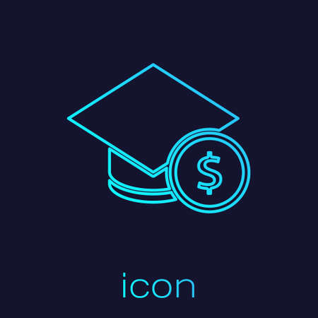 Turquoise line Graduation cap and coin icon isolated on blue background. Education and money. Concept of scholarship cost or loan, tuition or study fee. Vector.