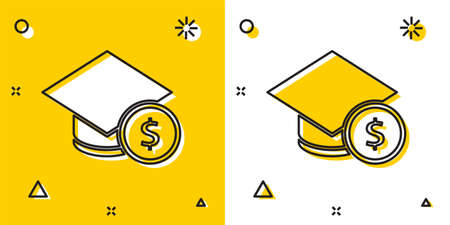 Black Graduation cap and coin icon isolated on yellow and white background. Education and money. Concept of scholarship cost or loan, tuition or study fee. Random dynamic shapes. Vector.