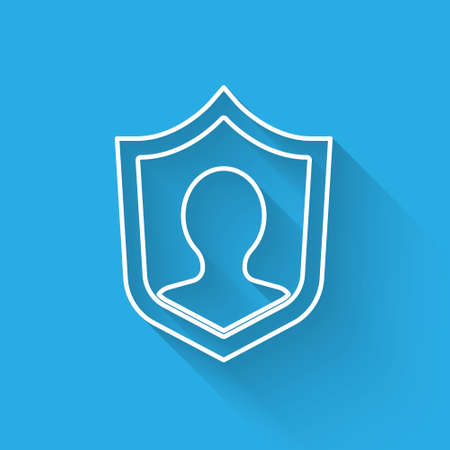 White line Life insurance with shield icon isolated with long shadow. Security, safety, protection, protect concept. Vector.