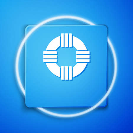 White Lifebuoy icon isolated on blue background. Lifebelt symbol. Blue square button. Vector.