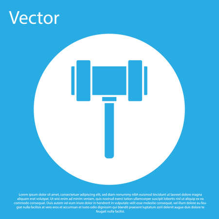Blue Judge gavel icon isolated on blue background. Gavel for adjudication of sentences and bills, court, justice. Auction hammer. White circle button. Vector.
