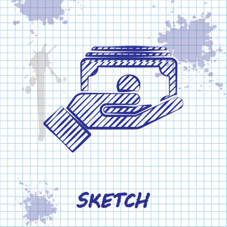 Sketch line Stacks paper money cash in hand icon isolated on white background. Insurance concept. Money banknotes stacks. Bill currency. Vector.
