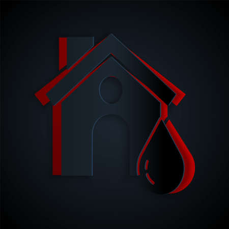 Paper cut House flood icon isolated on black background. Home flooding under water. Insurance concept. Security, safety, protection, protect concept..