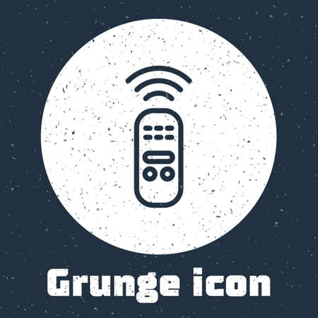 Grunge line Smart remote control system icon isolated on grey background. Internet of things concept with wireless connection. Monochrome vintage drawing. Vector