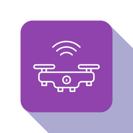 White line Smart drone system icon isolated on white background. Quadrocopter with video and photo camera symbol. Purple square button. Vector