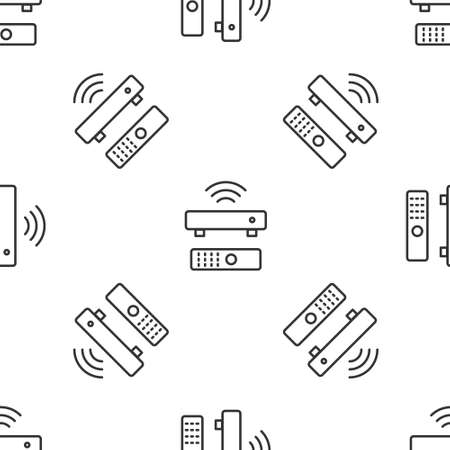 Grey line Wireless multimedia and TV box receiver and player with remote controller icon isolated seamless pattern on white background. Vector