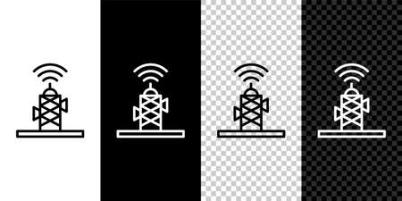 Set line Wireless antenna icon isolated on black and white background. Technology and network signal radio antenna. Vector Illusztráció