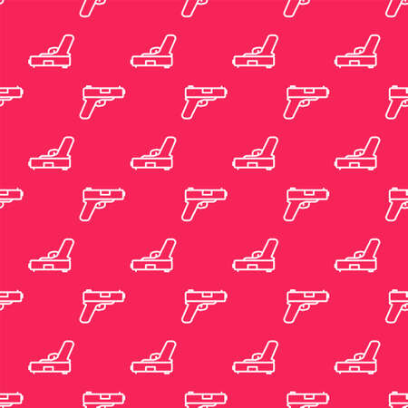White line Pistol or gun icon isolated seamless pattern on red background. Police or military handgun. Small firearm. Vector