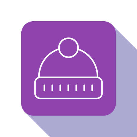 White line Winter hat icon isolated on white background. Purple square button. Vector 일러스트