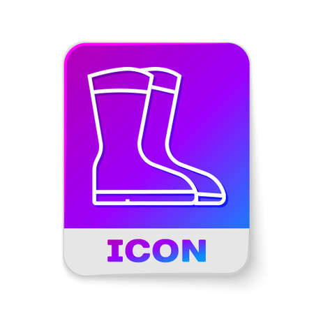 White line Fishing boots icon isolated on white background. Waterproof rubber boot. Gumboots for rainy weather, fishing, hunter, gardening. Rectangle color button. Vector