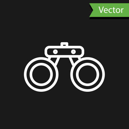White line Binoculars icon isolated on black background. Find software sign. Spy equipment symbol. Vector Çizim