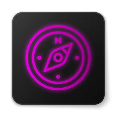 Glowing neon line Compass icon isolated on white background. Windrose navigation symbol. Wind rose sign. Black square button. Vector