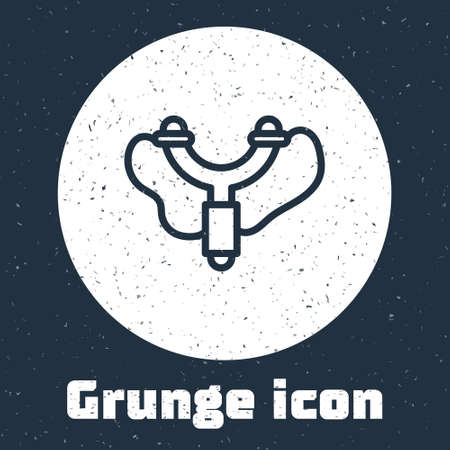 Grunge line Slingshot icon isolated on grey background. Monochrome vintage drawing. Vector Vettoriali